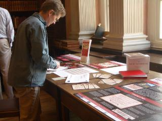 Setting up the Christ Church Library Exhibition